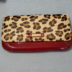 Charles David Red patent and leopard clutch.